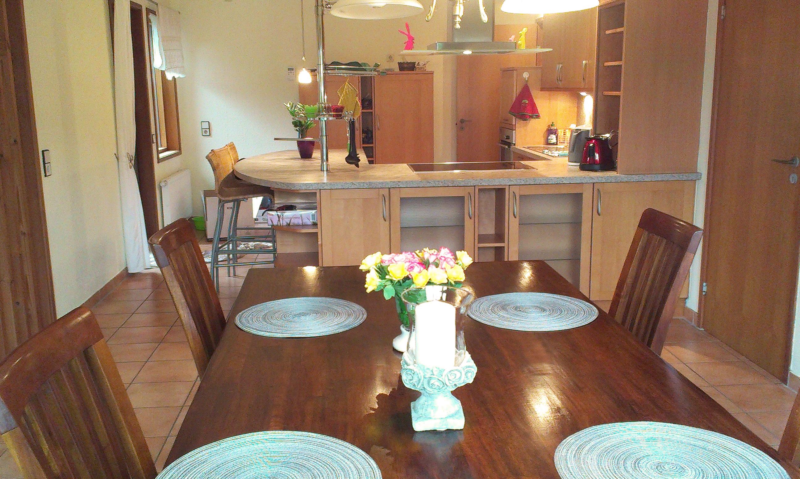 Blick vom Esstisch über Küchentresen zu Kühl-/Eis-Schrank
